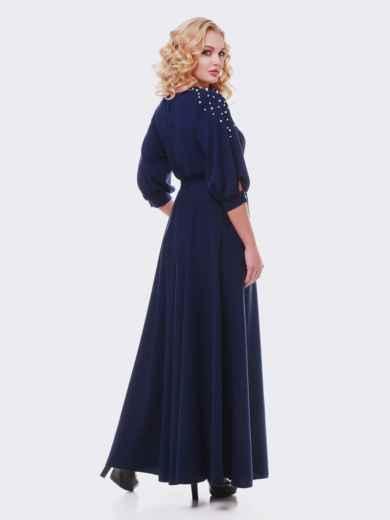Синее платье в пол с жемчугом 19109, фото 2
