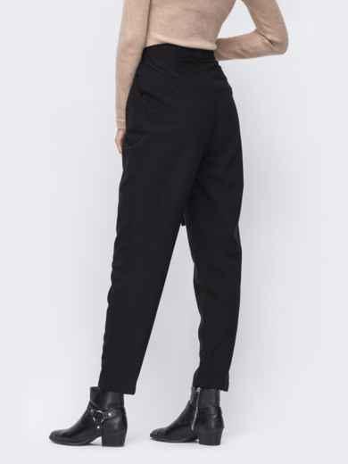Зауженные брюки с высокой посадкой чёрные 51674, фото 2