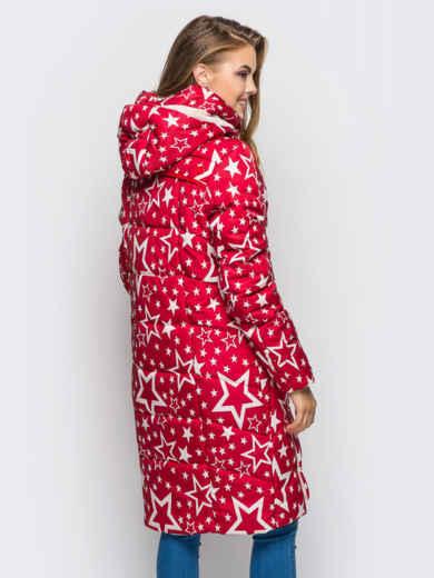 """Зимняя куртка красного цвета с принтом """"звезды"""" 15205, фото 2"""