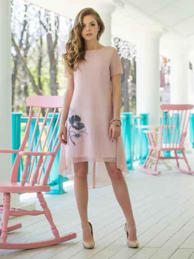 Двухслойное платье из шифона с подкладкой из трикотажного полотна 11638, фото 2