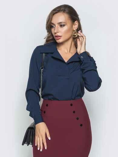 Тёмно-синяя блузка из софта с отложным воротником - 39930, фото 1 – интернет-магазин Dressa