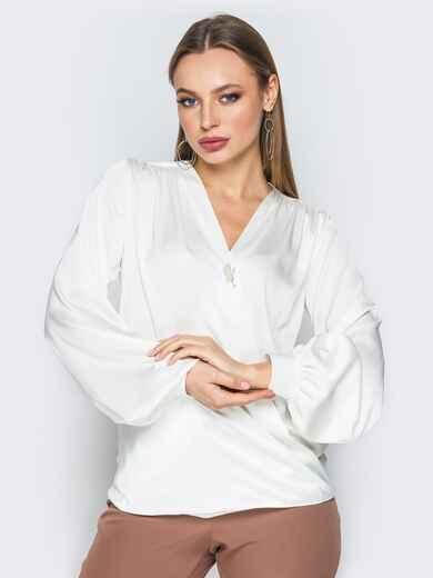 Белая шелковая блузка на запах 19774, фото 1
