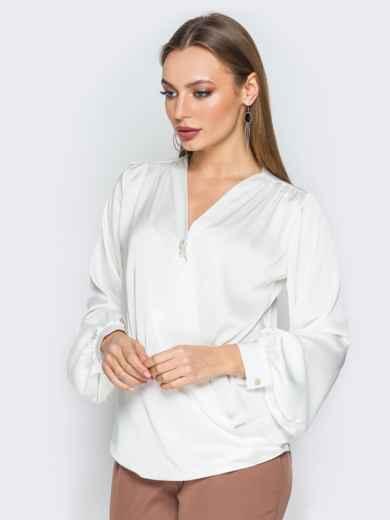 Белая шелковая блузка на запах 19774, фото 2