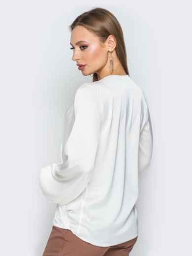 Белая шелковая блузка на запах 19774, фото 3