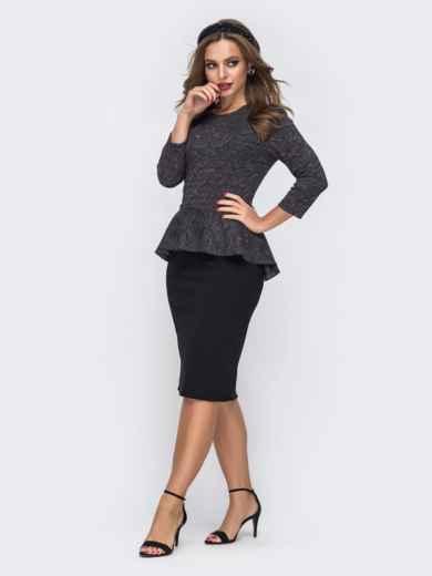 Чёрное платье-футляр с люрексовой нитью и баской по талии 42787, фото 2