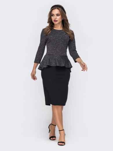 Чёрное платье-футляр с люрексовой нитью и баской по талии 42787, фото 3