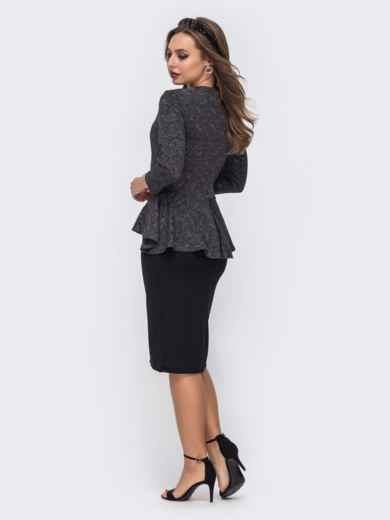 Чёрное платье-футляр с люрексовой нитью и баской по талии 42787, фото 4