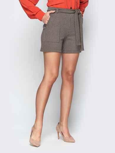 Коричневые шорты с накладными карманами и поясом 20645, фото 1
