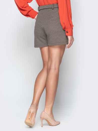 Коричневые шорты с накладными карманами и поясом 20645, фото 2