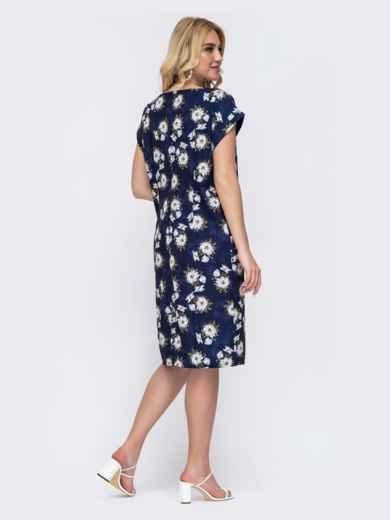 Темно-синее платье батал прямого кроя с цветочным принтом 49290, фото 2