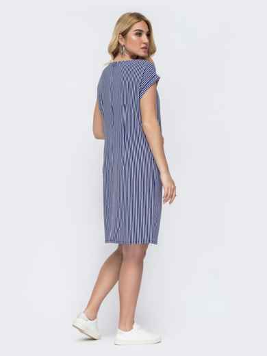 Темно-синее платье батал прямого кроя в полоску 49291, фото 2