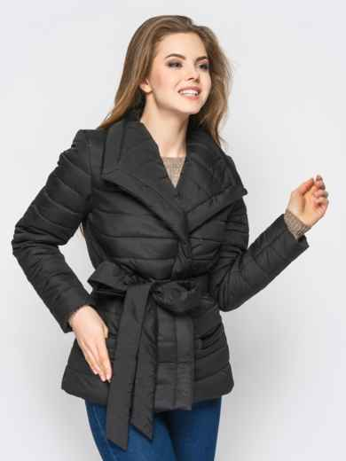 Черная куртка с потайными кнопками на полочке 12942, фото 2