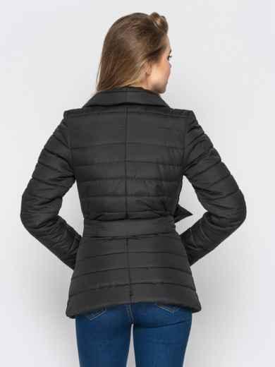 Черная куртка с потайными кнопками на полочке 12942, фото 3