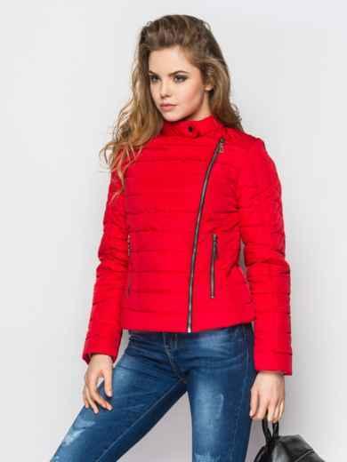 Укороченная куртка с асимметричной молнии красная 22811, фото 2