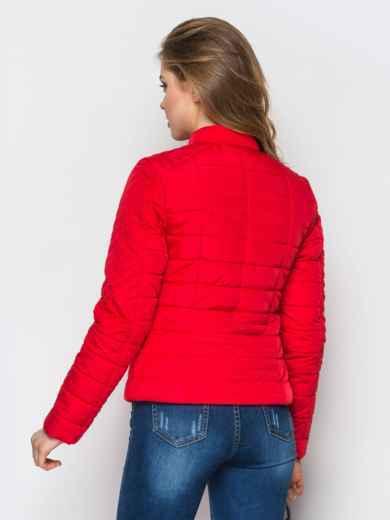 Укороченная куртка с асимметричной молнии красная 22811, фото 3