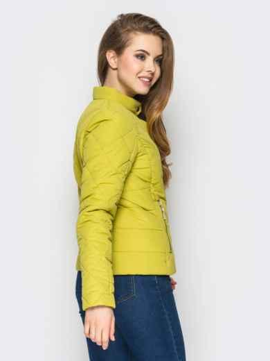 Зелёная куртка с воротником на кнопке 12933, фото 2