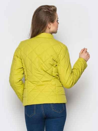 Зелёная куртка с воротником на кнопке 12933, фото 3