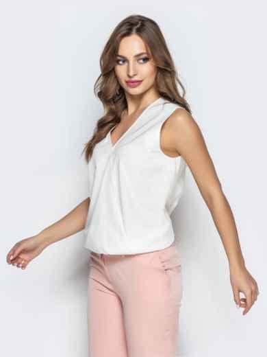 Белая блузка без рукавов с запахом 22274, фото 2