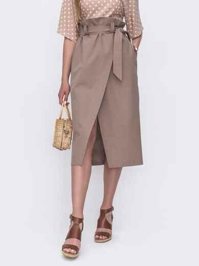 Льняная юбка на запах с завышенной талией бежевая 49179, фото 1