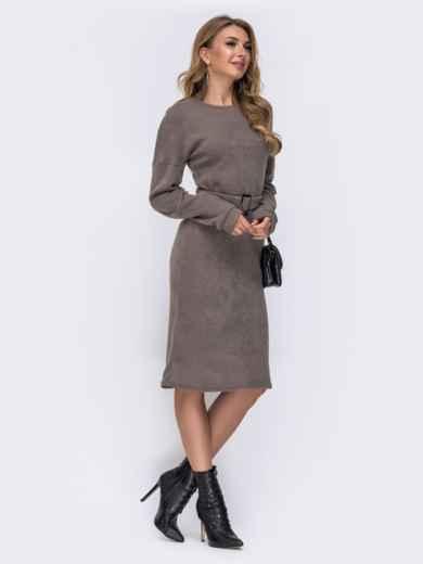 Платье-миди из ангоры со спущенной линией плеч бежевое 42265, фото 2