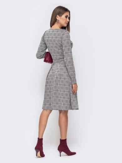 Платье приталенного кроя в крупную клетку серое 41441, фото 3