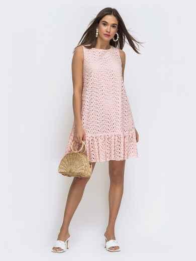 Платье-трапеция из прошвы с воланом по низу розовое  - 48287, фото 1 – интернет-магазин Dressa