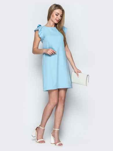 Голубое платье приталенного кроя с V-вырезом по спинке 21387, фото 2