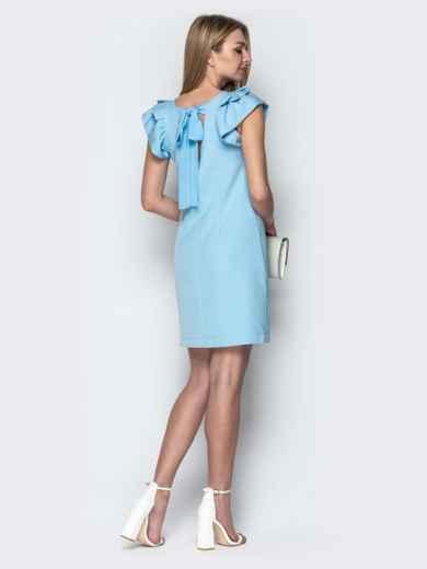 Голубое платье приталенного кроя с V-вырезом по спинке 21387, фото 3