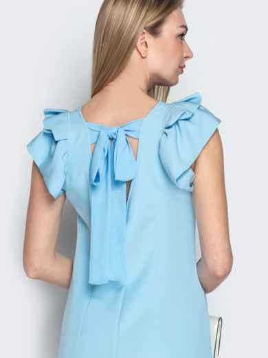 Голубое платье приталенного кроя с V-вырезом по спинке 21387, фото 4
