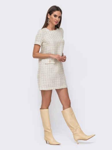 Короткое платье прямого кроя в клетку молочное 52387, фото 2