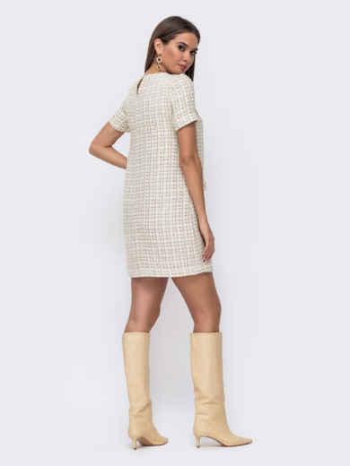 Короткое платье прямого кроя в клетку молочное 52387, фото 3