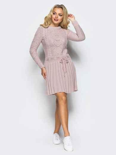 Розовое вязаное платье с резинкой на поясе 15939, фото 1