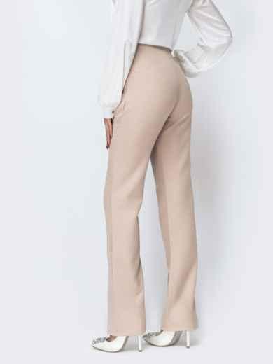 Бежевые брюки-клёш с разрезами по низу 44118, фото 2