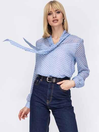 Голубая блузка из шифона в горох с воротником-аскот 52876, фото 1