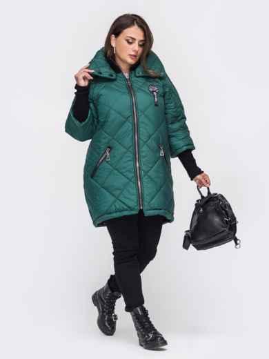 Стеганая куртка батал с трикотажными манжетами зеленая 50754, фото 2