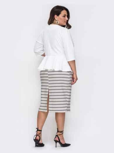 Белое платье батал с баской и юбкой в полоску 49864, фото 2