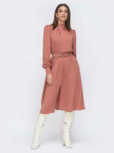 Терракотовое платье с воротником стойкой и разрезом спереди 45085, фото 1