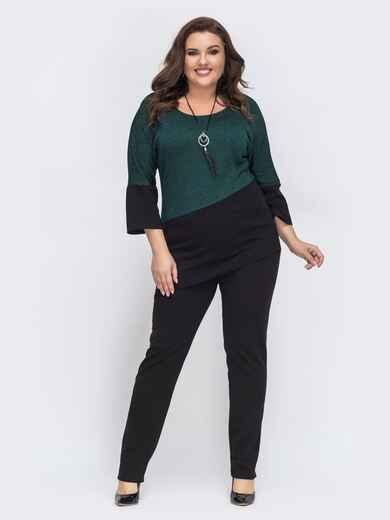 Зелёный комплект из джемпера с асимметричным низом и брюк - 43314, фото 1 – интернет-магазин Dressa
