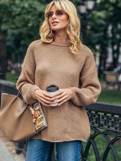 "Бежевый вязаный свитер с узором ""Соты"" 50406, фото 1"