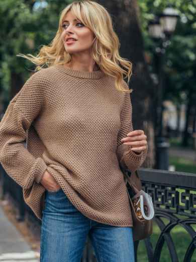 "Бежевый вязаный свитер с узором ""Соты"" 50406, фото 2"