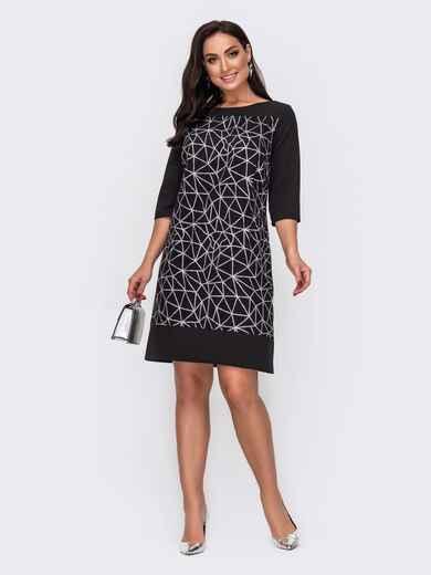 Чёрное платье большого размера с контрастным напылением 52196, фото 1