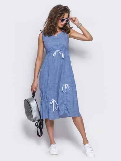 Хлопковое платье в голубую клетку 11471, фото 2