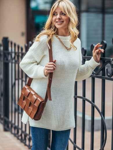Молочный вязаный свитер с разрезами по бокам 50410, фото 1