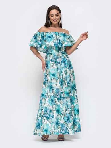 Платье батал с принтом и открытыми плечами голубое 46358, фото 1