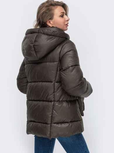 Зимняя куртка с воротником-стойкой и капюшоном коричневая 50221, фото 3