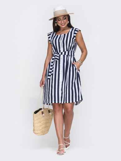 Платье большого размера в тёмно-синюю полоску 49739, фото 1