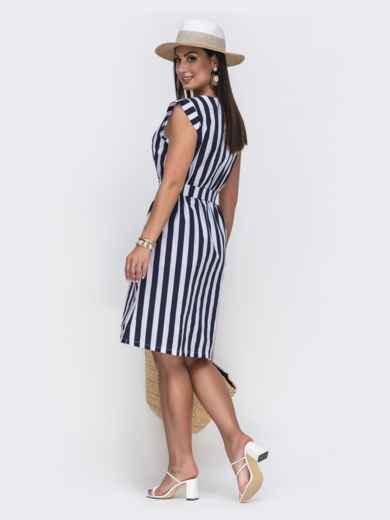 Платье большого размера в тёмно-синюю полоску 49739, фото 2