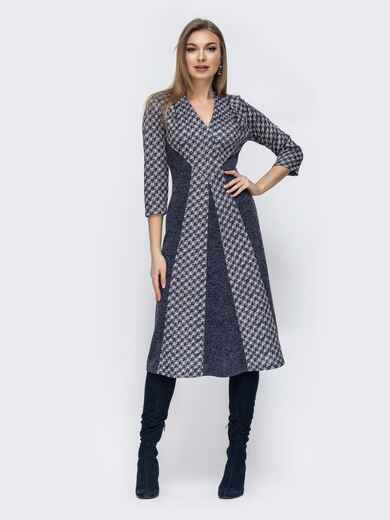 Расклешенное платье с принтованными вставками серое 45775, фото 1
