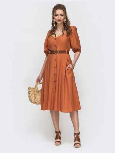 Расклешенное платье терракотового цвета с коротким рукавом  46859, фото 1