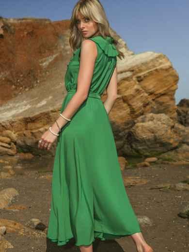 Зелёное платье с оборкой на лифе и резинкой в поясе 48487, фото 2